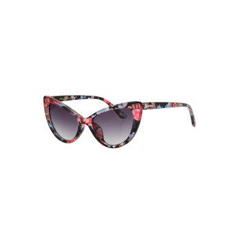 Chic Letter T Shape Inlay Flower Sunglasses For Women - RED RED