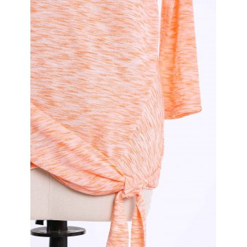 Fashionable Off-The-Shoulder Solid Color Plus Size 3/4 Sleeve Women's T-Shirt - ORANGE 4XL