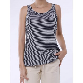 Stylish Scoop Neck Lace Splicing Striped Embroidery Women's Tank Top
