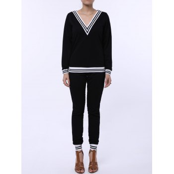 Chic V-Neck Striped Long Sleeve Sweatshirt + Fitted Pants Twinset For Women