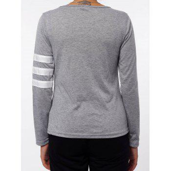 Simple Style Scoop Neck Color Block Striped Sleeve T-Shirt For Women - GRAY M