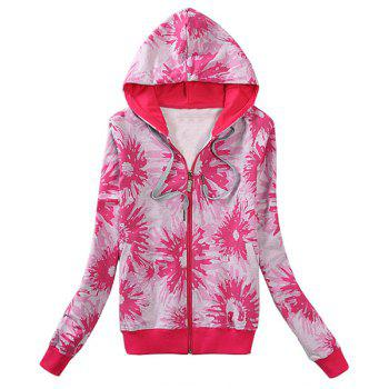 Active Long Sleeve Abstract Floral Print HoodieFor Women