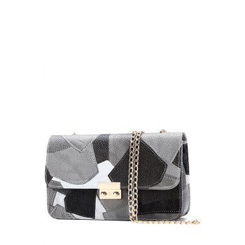 Trendy Color Block and Chains Design Crossbody Bag For Women