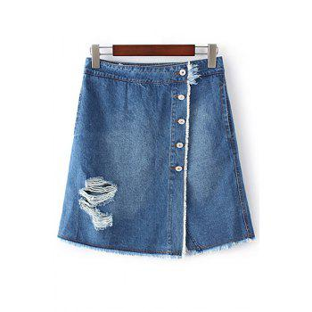 Stylish High Waist A-Line Ripped Single-Breasted Denim Women's Skirt