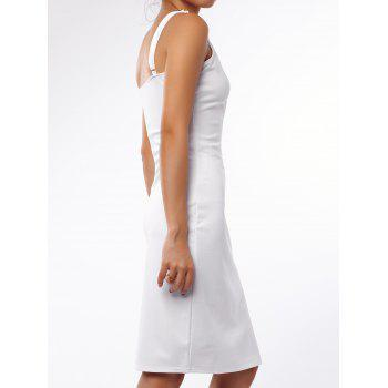 Charming White Low Cut Spaghetti Strap Hollow Out Bodycon Dress For Women - WHITE L