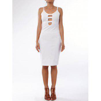 Charming White Low Cut Spaghetti Strap Hollow Out Bodycon Dress For Women