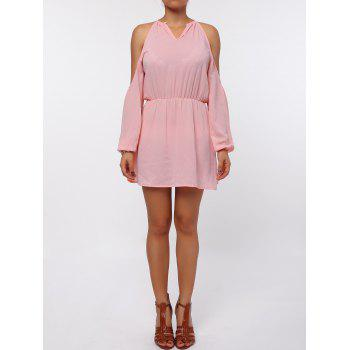 Stylish Round Collar Long Sleeve Cut Out Pure Color Chiffon Women's Dress - PINK PINK