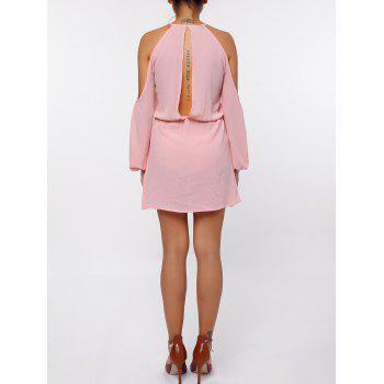 Stylish Round Collar Long Sleeve Cut Out Pure Color Chiffon Women's Dress - PINK M