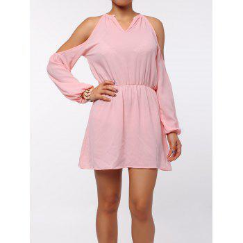 Stylish Round Collar Long Sleeve Cut Out Pure Color Chiffon Women's Dress - PINK L