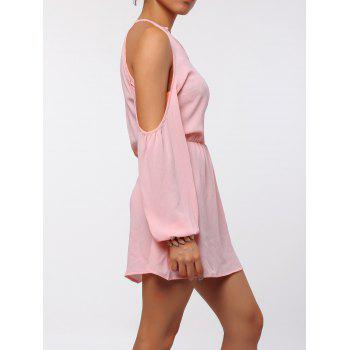 Stylish Round Collar Long Sleeve Cut Out Pure Color Chiffon Women's Dress - PINK XL