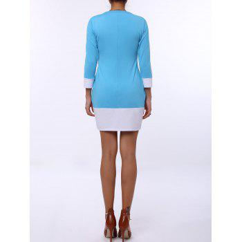 Stylish Scoop Neck Color Block Long Sleeve Mini Dress For Women - AZURE AZURE