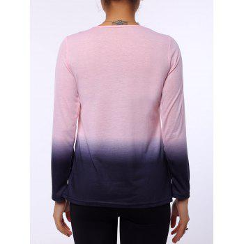 Stylish Long Sleeve Round Neck Ombre Color Women's T-Shirt - PINK XL