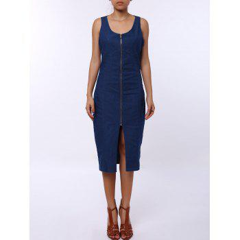 Sexy U-Neck Sleeveless Zip Up Bodycon Women's Denim Dress - BLUE M