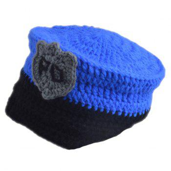Set of Chic Policeman Style Knitting Props Clothes Hat For Baby's Photography - BLUE