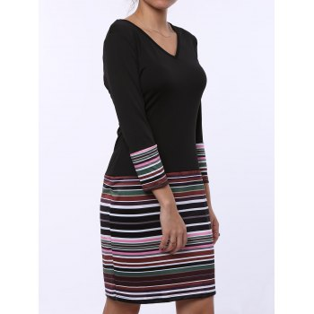 Fashion Stripe Spliced V-Neck Long Sleeve Dress For Women - BLACK M