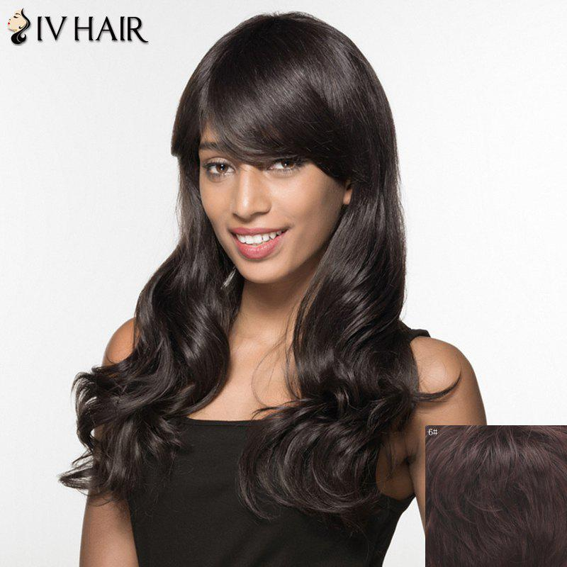 Women's Trendy Siv Hair Long Curly Inclined Bang Human Hair Wig - MEDIUM BROWN