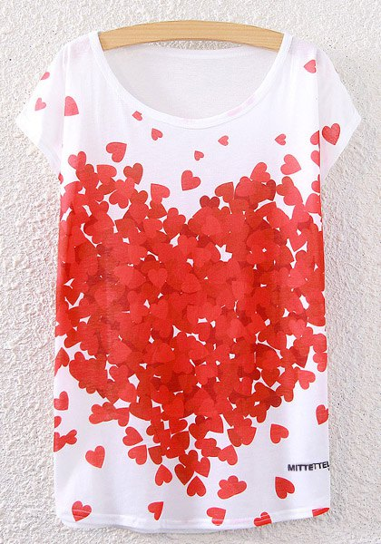 Scoop Neck Hearts Print T-Shirt - WHITE ONE SIZE(FIT SIZE XS TO M)