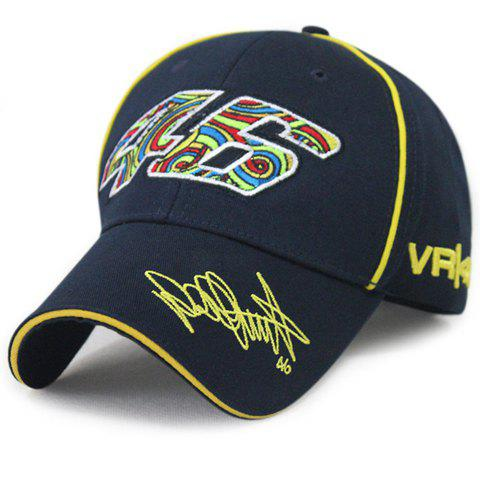Stylish Multicolor Numbers and Letters Embroidery Men's Racing Baseball Cap - CADETBLUE