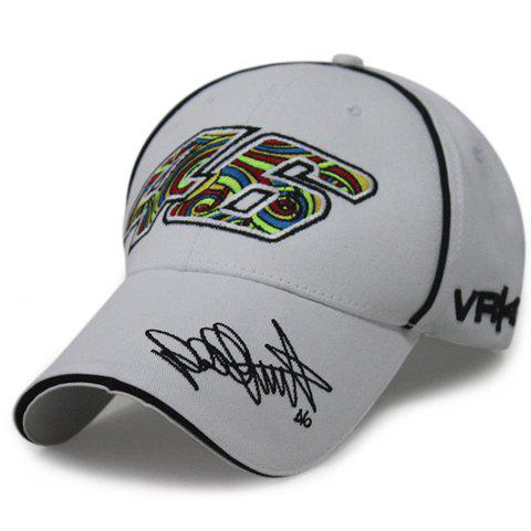 Stylish Multicolor Numbers and Letters Embroidery Men's Racing Baseball Cap - WHITE