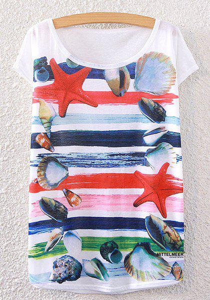 Stripe Shell Print Scoop Neck T-Shirt - WHITE ONE SIZE(FIT SIZE XS TO M)