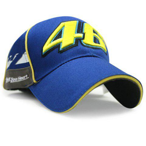 Stylish Hollow Out Numbers Shape Embroidery Men's Racing Baseball Cap - BLUE