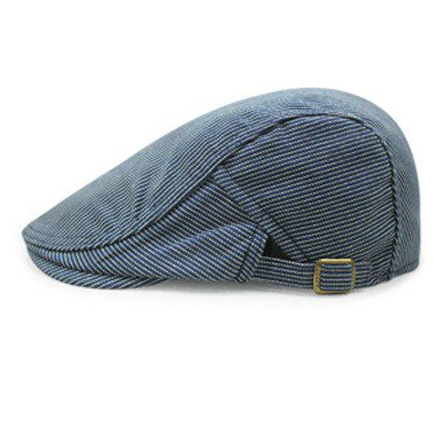 Stylish Adjustable Buckle Vertical Striped Men's Cabbie Hat - CADETBLUE