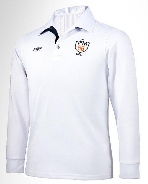 Color Block Letters Embroidered Turn-Down Collar Long Sleeve Men's Polo Shirt - L WHITE