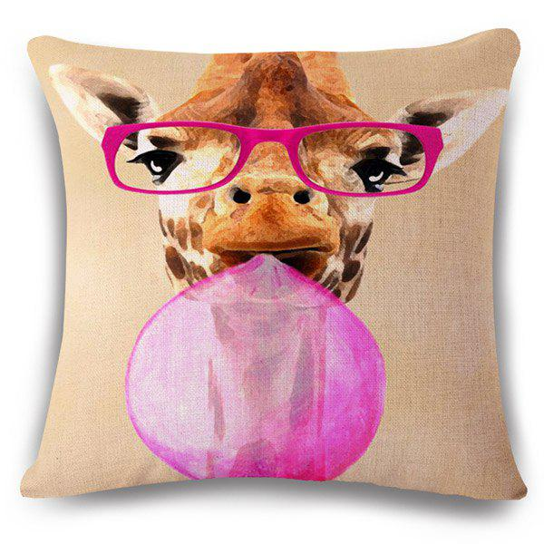 Fashion Bubble Gum Giraffe Pattern Square Shape Flax Pillowcase (Without Pillow Inner)