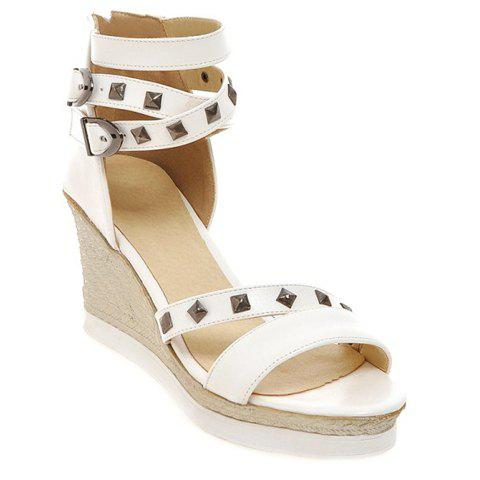 Sandales Zipper mode et talon Wedge design Femmes  's - Blanc 39