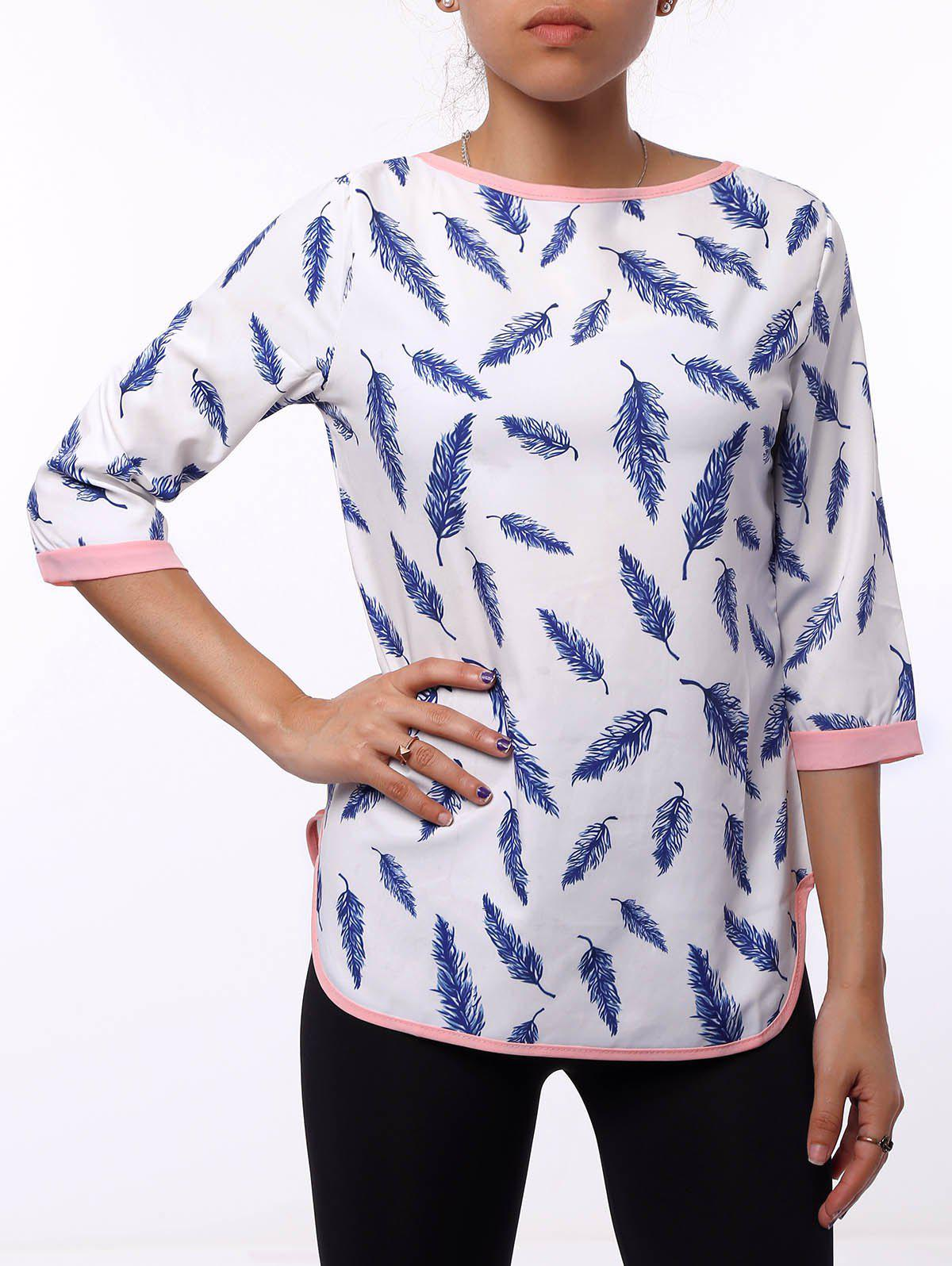 Refreshing 3/4 Sleeve Cut Out Leaf Printed Blouse For Women