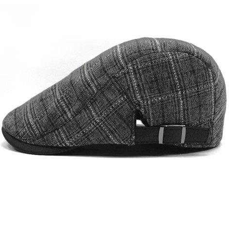 Stylish Adjustable Buckle Plaid Pattern Retro Style Men's Cabbie Hat - SMOKY GRAY