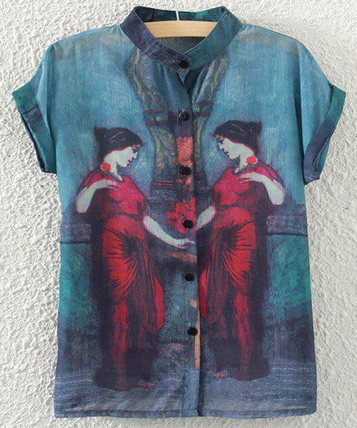 Buttoned Short Sleeve Figure Print Blouse - BLUE ONE SIZE(FIT SIZE XS TO M)