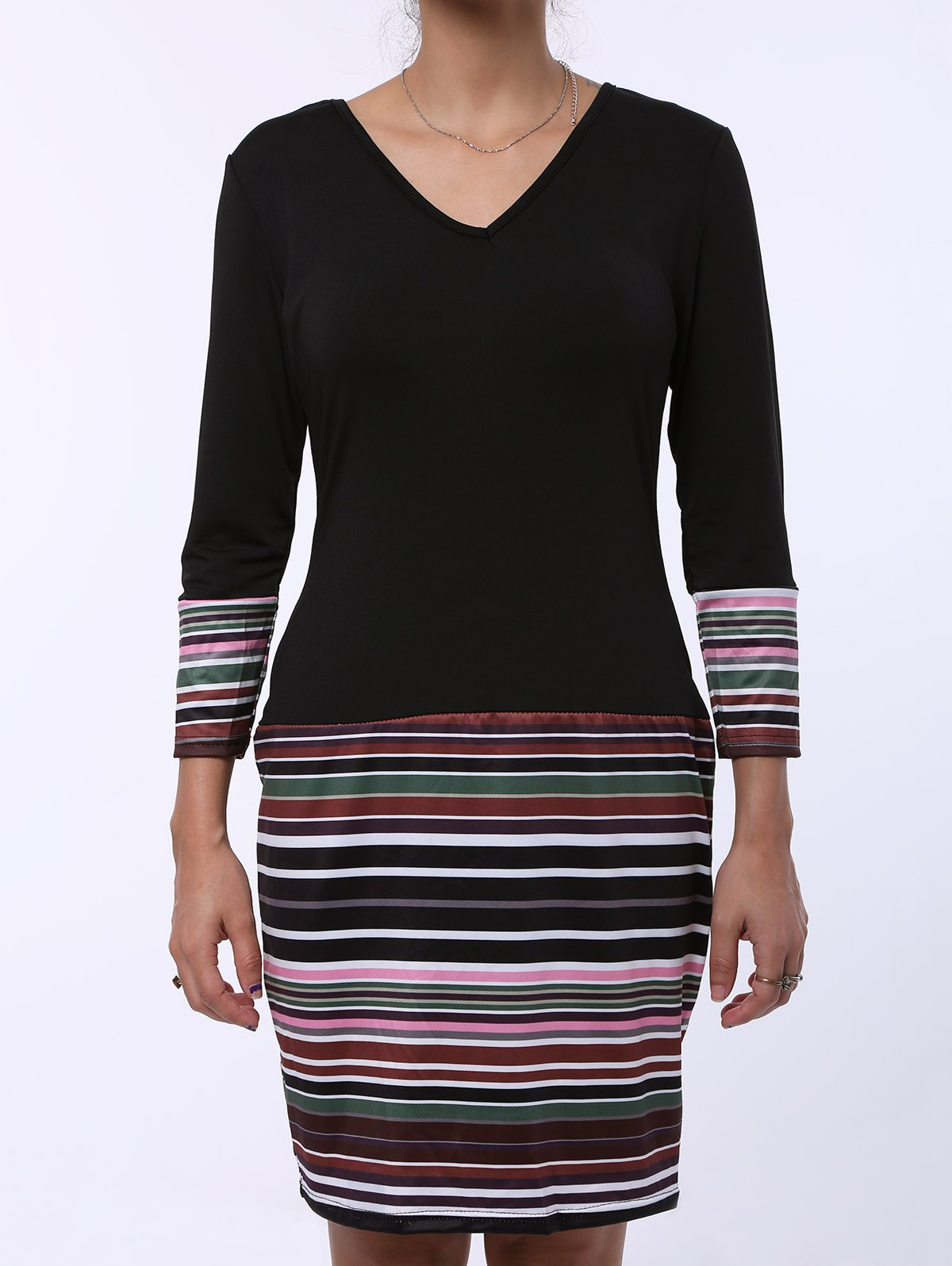 Fashion Stripe Spliced V-Neck Long Sleeve Dress For Women - BLACK S