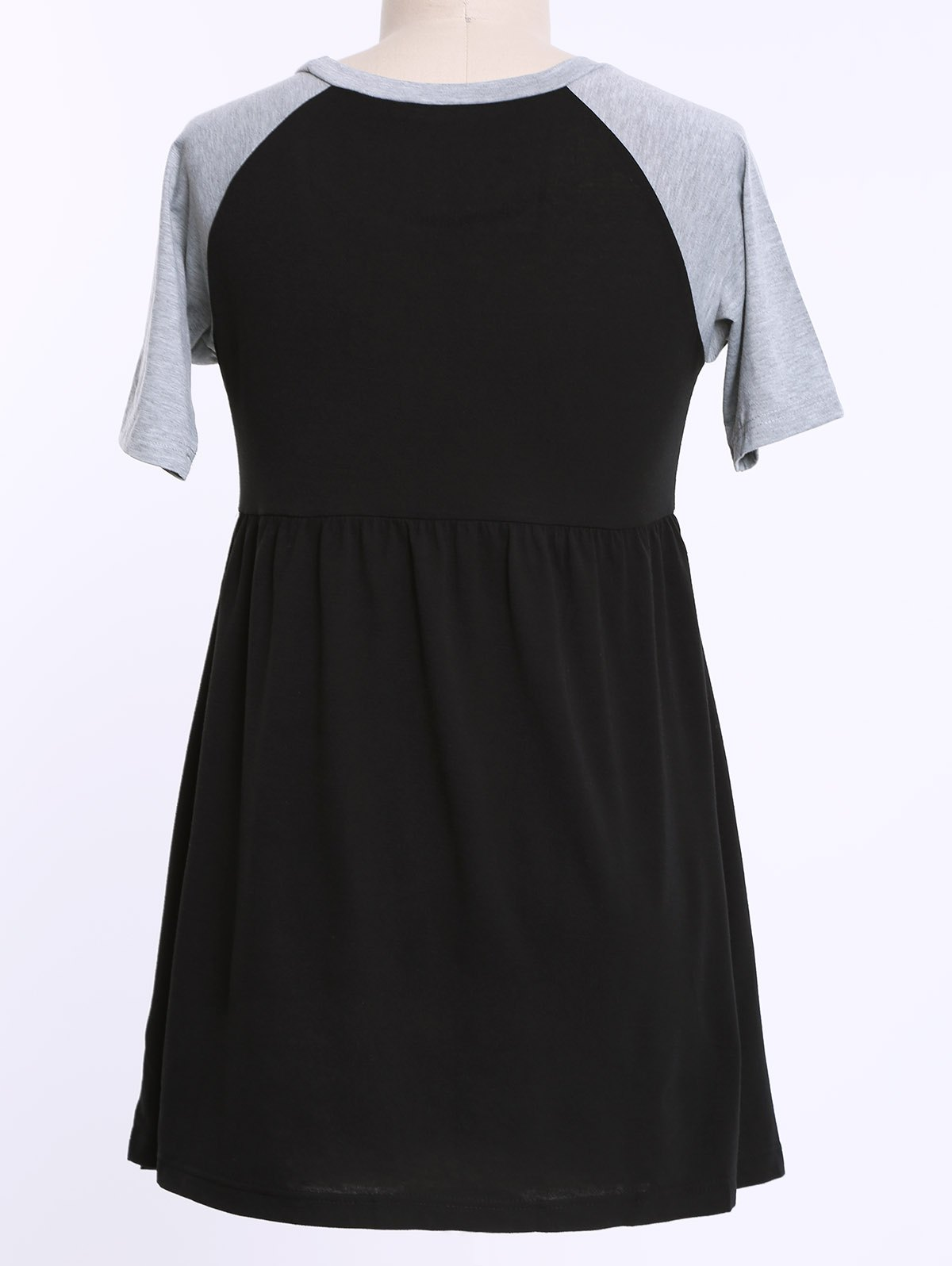 Casual Scoop Neck Color Block Plus Size Half Sleeves Womens Dress