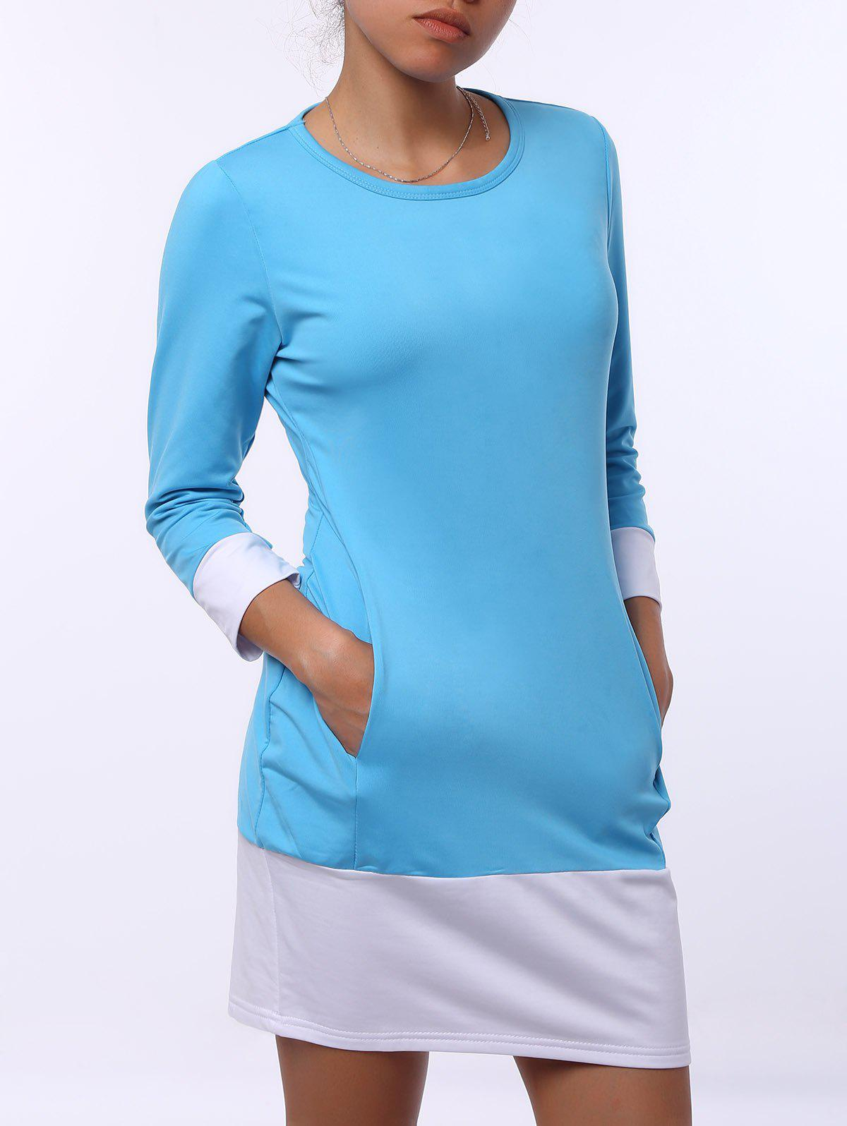 Stylish Scoop Neck Color Block Long Sleeve Mini Dress For Women - AZURE M