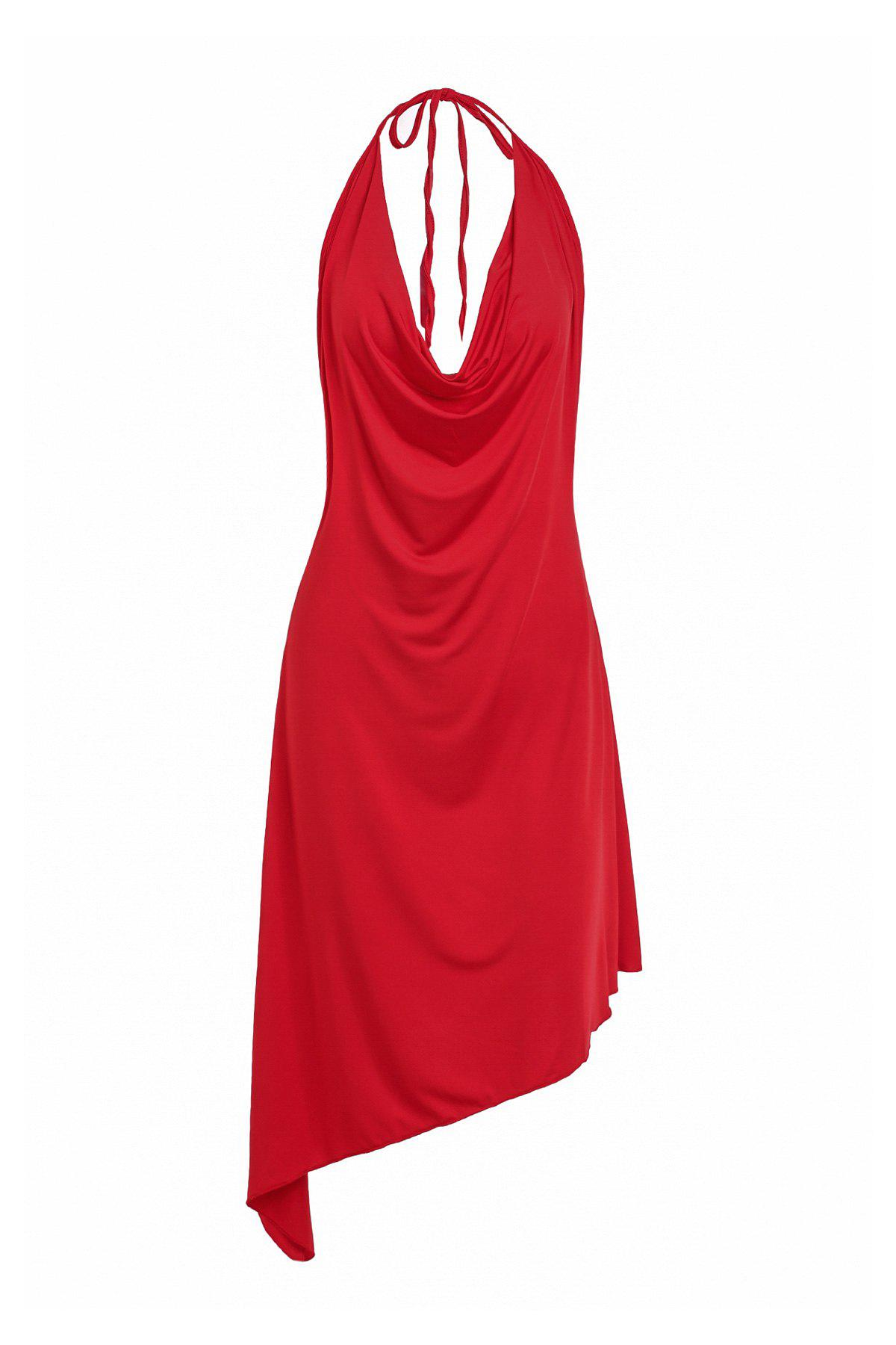 Trendy Halter Solid Color Backless Asymmetrical Women's Dress - RED M