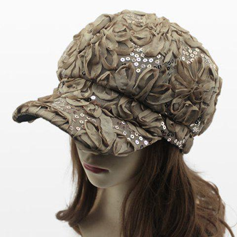 Chic Flower Shape and Sequins Embellished Women's Newsboy Hat - KHAKI