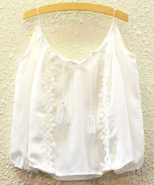 Alluring Women's Spaghetti Strap Lace Embellished Tank Top - WHITE ONE SIZE(FIT SIZE XS TO M)