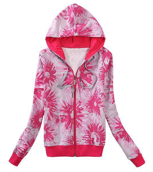 Actif à long Abstract manches imprimé floral HoodieFor femmes - Rose 2XL