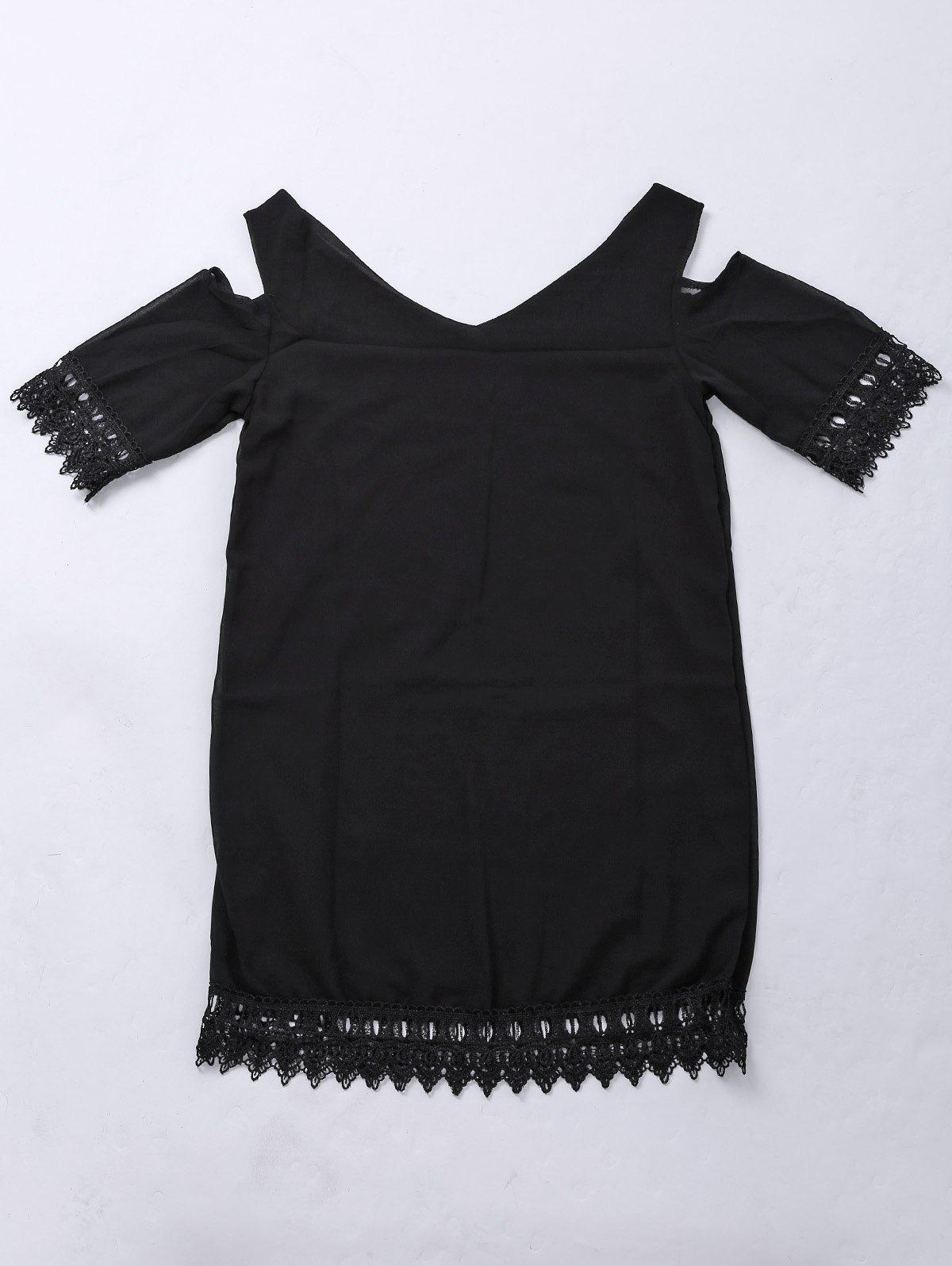 Refreshing Solid Color V-Neck Shoulder Cut Out Lace Hem Dress For Women - BLACK L