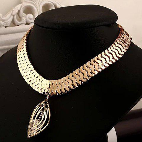 Hollow Out Leaf Alloy Chains Necklace - GOLDEN
