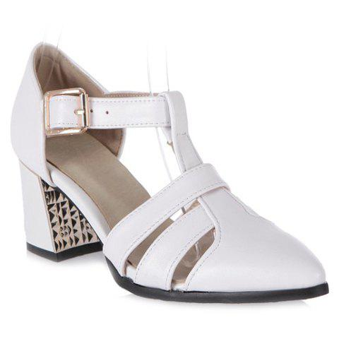 Fashionable T-Strap and Solid Color Design Women's Pumps - 38 WHITE