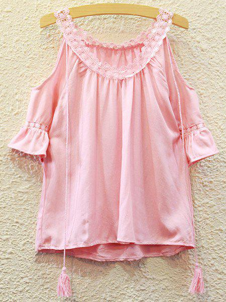 Sweet Women's Flare Sleeve Hollow Out Scoop Neck Blouse - PINK ONE SIZE(FIT SIZE XS TO M)