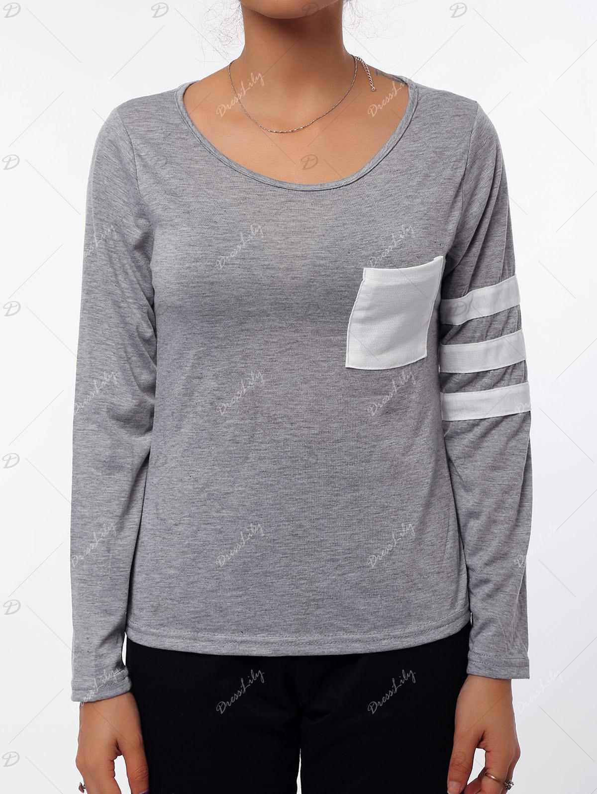 Simple Style Scoop Neck Color Block Striped Sleeve T-Shirt For Women