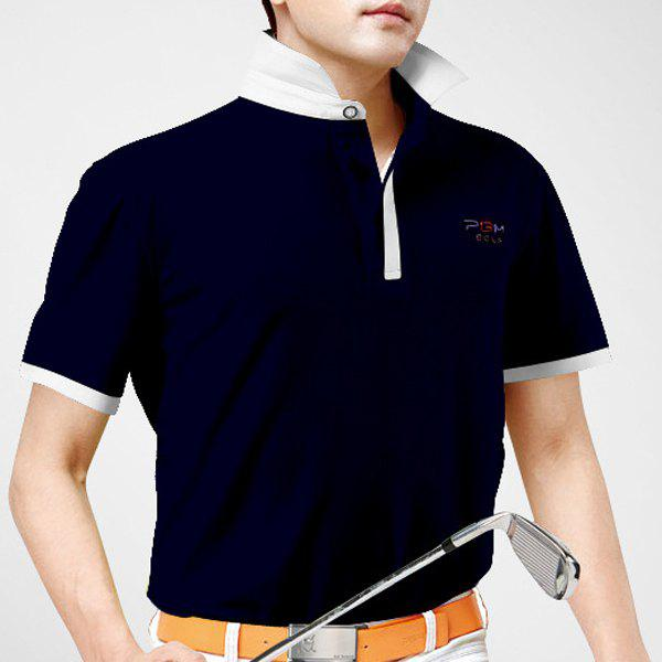 Color Block Letter Print Turn-Down Collar Short Sleeve Men's Polo T-Shirt - CADETBLUE XL