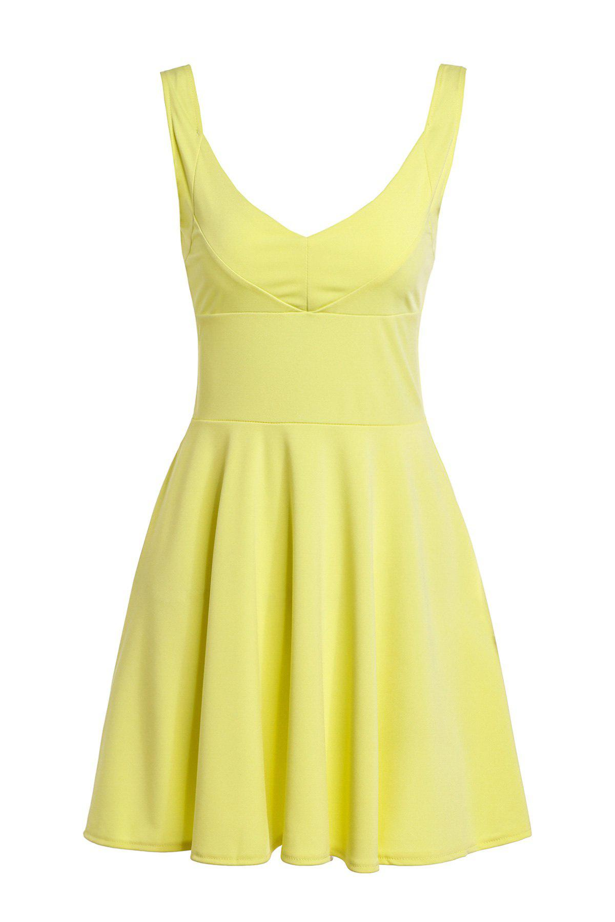 Trendy Sleeveless Plunging Neck Slimming Solid Color Women's Dress - YELLOW S
