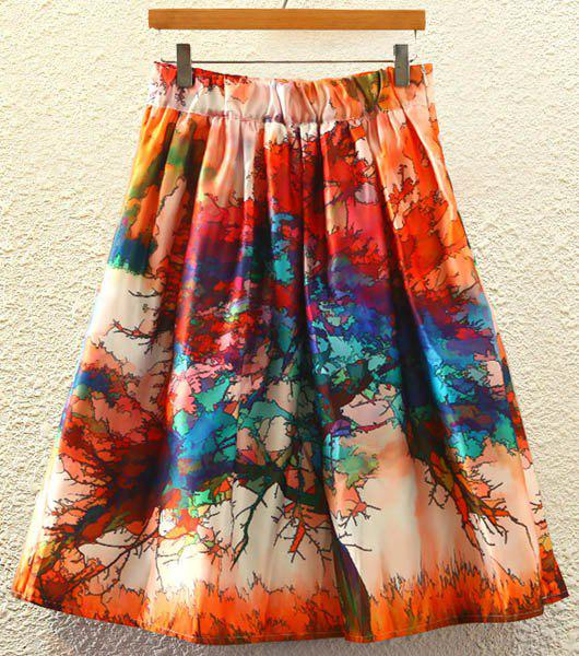 Stylish Printed High Waist Women's A-Line Skirt - JACINTH ONE SIZE(FIT SIZE XS TO M)