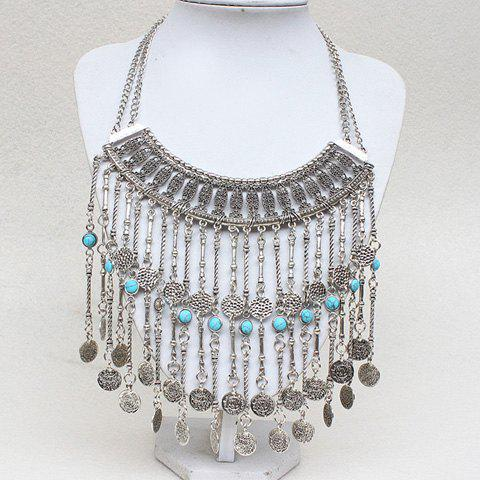 Gorgeous Faux Turquoise Coin Long Tassel Necklace For Women - SILVER