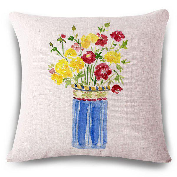 Fashionable Hand-Painted Flower Bouquet Pattern Square Shape Flax Pillowcase (Without Pillow Inner) - COLORMIX