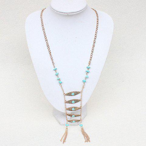 Gorgeous Faux Turquoise Eyes Tassel Necklace For Women - GOLDEN